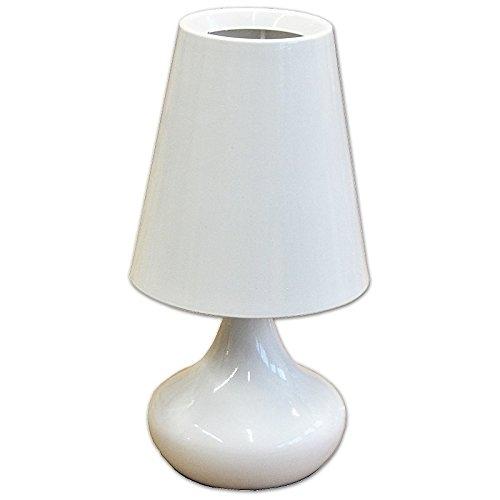 Kleine Tischleuchte Dakota aus Metall Lack Weiß rund Höhe 23cm, E14 max. 40W, mit Schurschalter Nachttischlampe, Nachttischleuchte